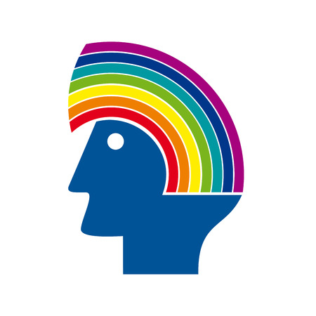 herbalist: sign head with rainbow. Environmental concept Illustration