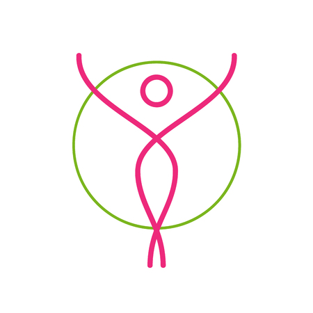 sign pink dancer. Stylized woman inside a circle