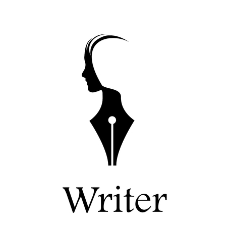 storyteller: Fountain pen, head of a person Illustration