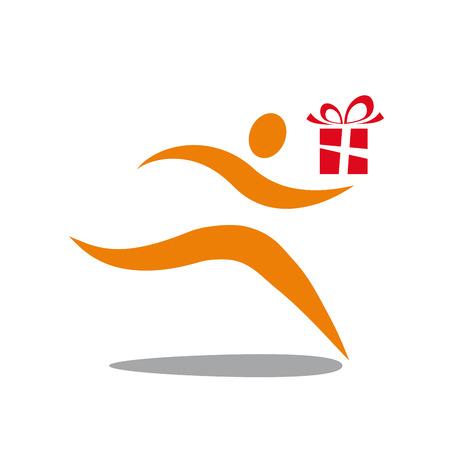dar un regalo: sign man run give a gift