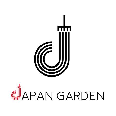 japanese garden: letter J, japanese garden Illustration