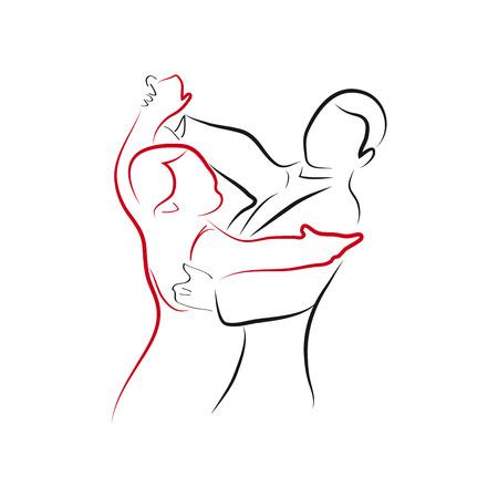 illustration waltz ballet, couple dancing