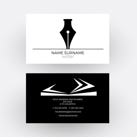 storyteller: abstract fountain pen, concept of writer. Business card