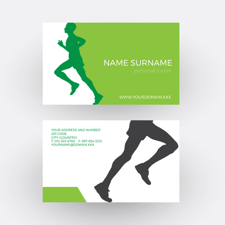 personal trainer: abstract runner and personal trainer. Business card Illustration