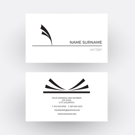 storyteller: abstract pen with feather, concept of writer. Business card