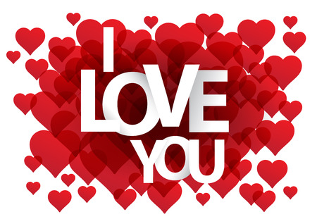 postcard background: I love you postcard. Background with hearts