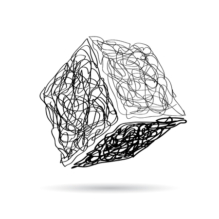 sign scribble of a cube