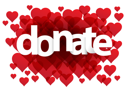 postcard background: Donate postcard. Background with hearts Illustration