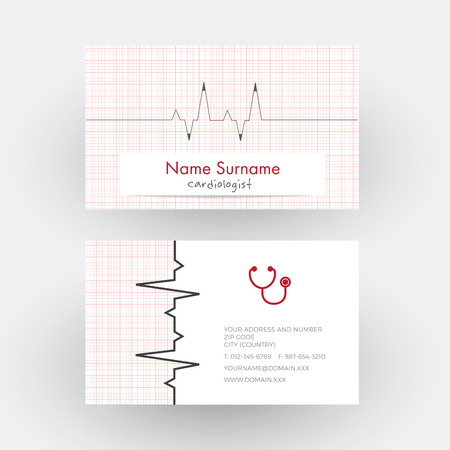 cardiologist: abstract electrocardiogram strip. Cardiologist doctor business card