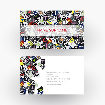 the writer: abstract alphabet, concept of writer. Business card