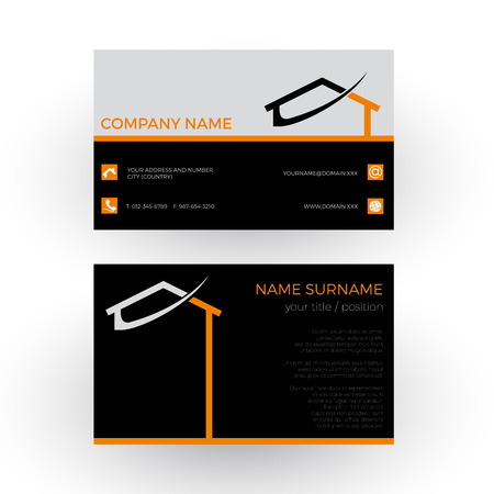 abstract house, concept of builder. Business card