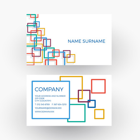 network card: abstract squares, concept of network. Business card