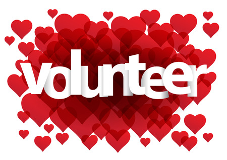Volunteer postcard. Background with hearts Illustration