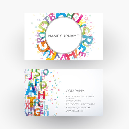 abstract alphabet, concept of writer. Business card