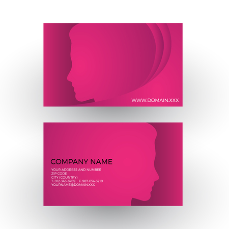 hairdress: abstract female head. Spa and hairdress business card