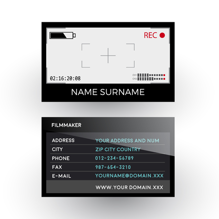 filmmaker: viewfinder camera, filmmaker concept. Business card Illustration