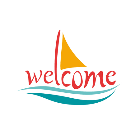 text welcome on board with sea and sailing