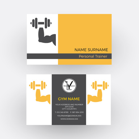 personal trainer: abstract sign personal trainer. Business card Illustration