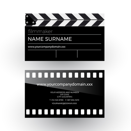 filmmaker: abstract clapperboard and movie film, filmmaker concept. Business card