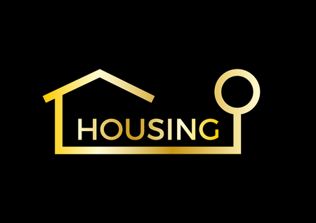 real estate agency: abstract golden house, real estate agency