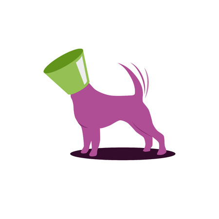 sign happy dog with veterinary collar