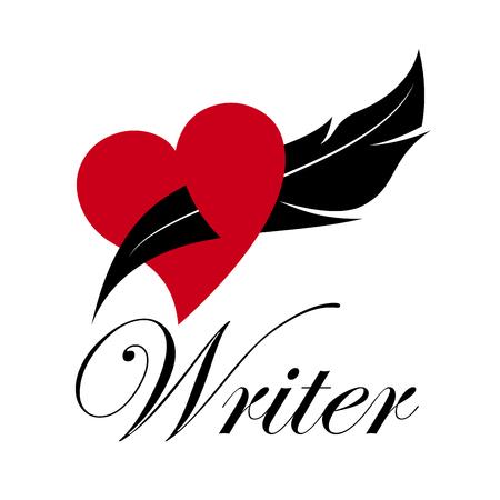 storyteller: sign writer. Inkwell in a heart. Love story
