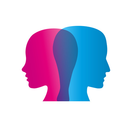 quarrel: sign abstract dual personality, couple in quarrel Illustration