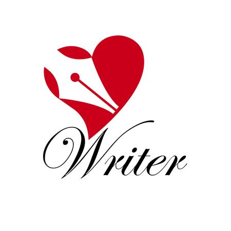 escritor de signo. Pluma estilográfica en un corazón. Historia de amor