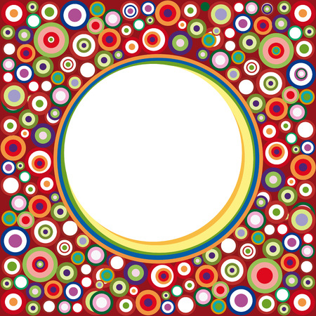 Abstract vintage geometric background with circles and frame on red