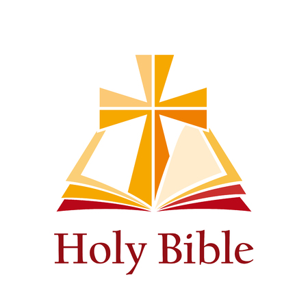 Sign holy bible with cross