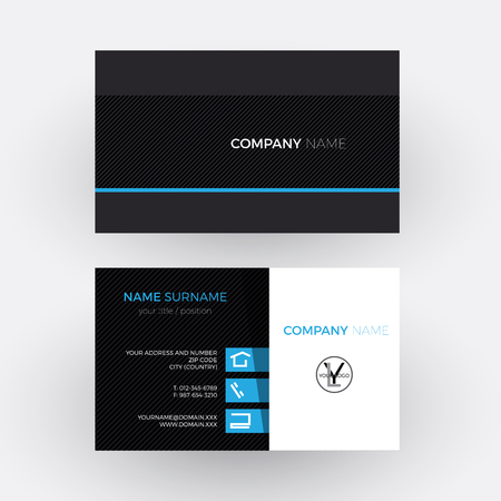 black professional: Vector elegant and professional business card, blue and black