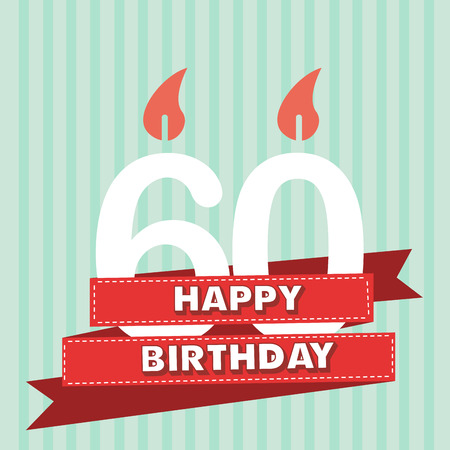 60 years old: 60 years old, vintage happy birthday in vector flat design