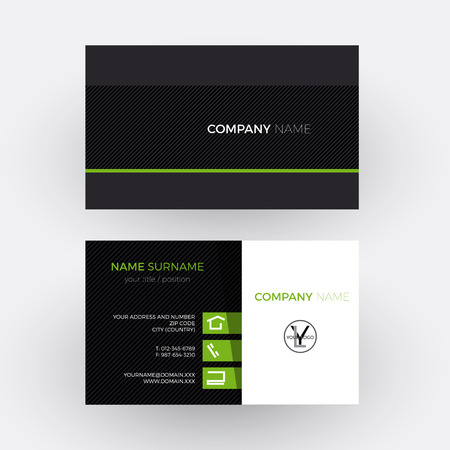 green card: Vector elegant and professional business card, green and black