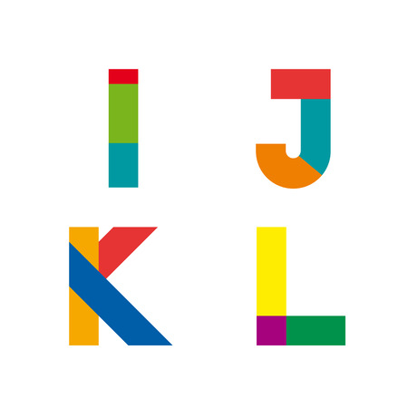 initial: Vector abstract geometric letter I,J,K,L Illustration