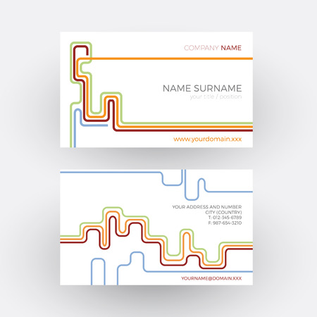 network card: Vector abstract stripes, concept of network. Vintage business card Illustration