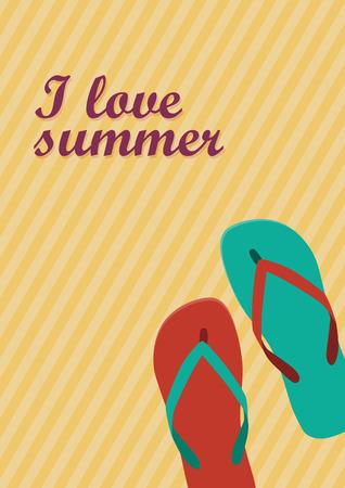 Vector abstract flip flops on the beach, summer concept
