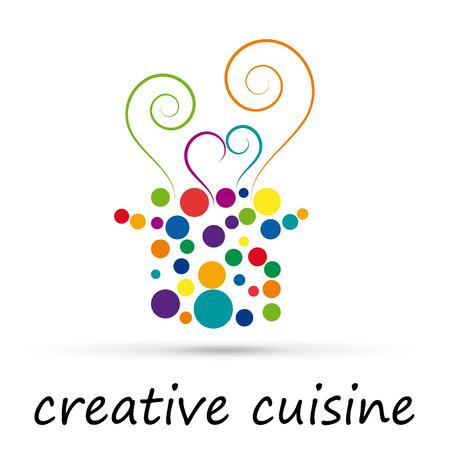 Vector abstract creative food in cuisine