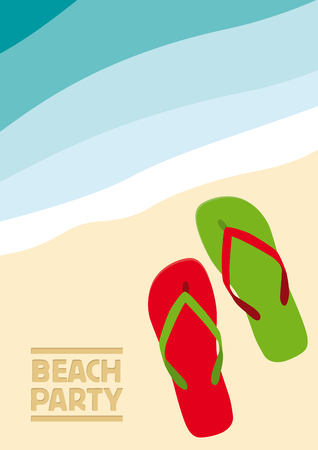 Vector abstract flip flops on the beach, summer concept