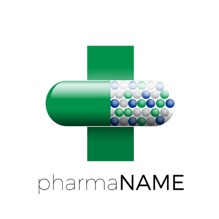 green cross: Vector icon pharmacy. Green cross with pill