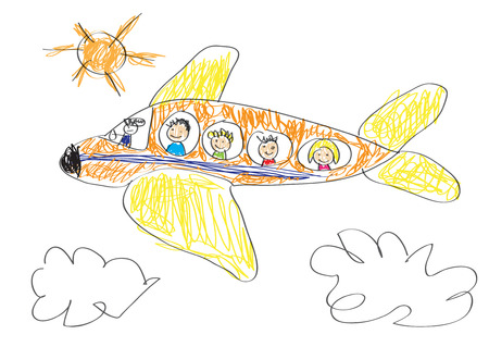 family holiday: Vector drawing made by a child, happy family that goes on vacation by airplane