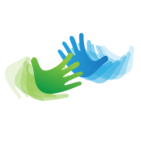 Vector sign concept of solidarity, hands touching