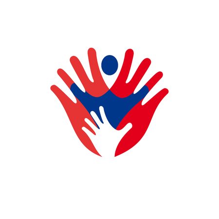 together voluntary: Solidarity concept, hand and child