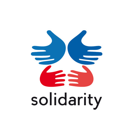together voluntary: vector sign hands, solidarity concept