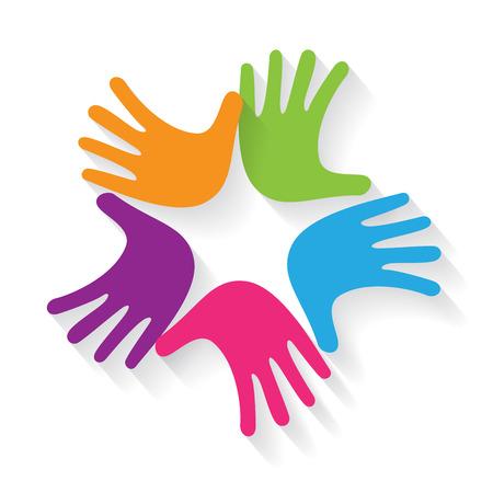 mani incrociate: Vector sign teamwork, hands crossed