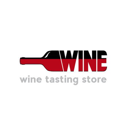 Signe vecteur dégustation de vin avec bouteille et texte