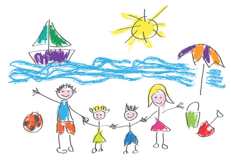 Vector drawing made by a child, happy family on vacation at the beach Vectores