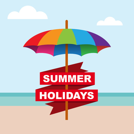 cover background time: Vector abstract umbrella on the beach, summer concept