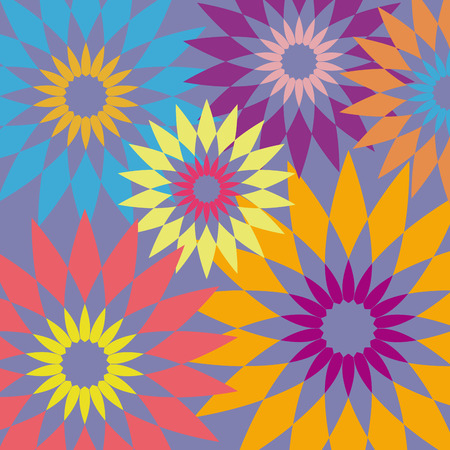 70's: Vector retro flower background. Vintage 70s style