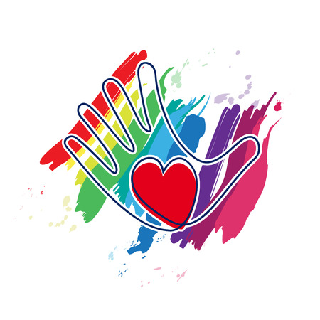voluntary: Vector hand and heart, peace concept Illustration
