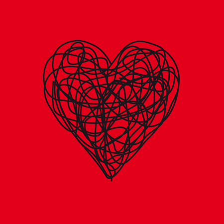 Vector sign scribble of red heart Illustration